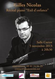 Affiche Concert Gilles Nicolas Salle Cortot